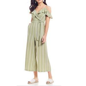 Sleeveless Ruffle Striped Jumpsuit Size XS